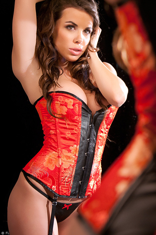 Image of Allure Allure Leather & Brocade Corset with Thong