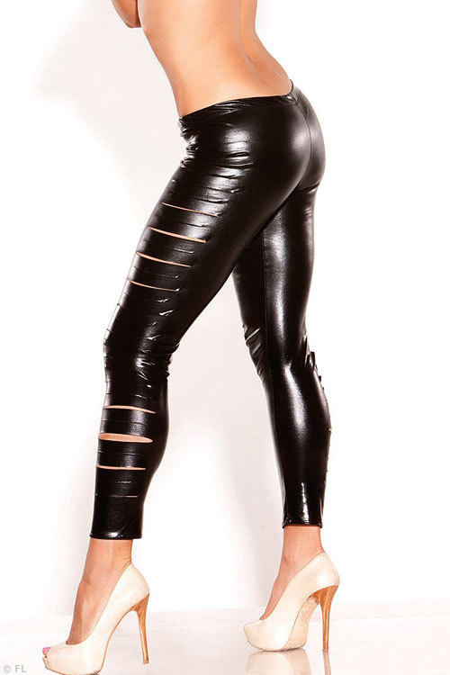 Allure Wet Look Side Slashed Leggings
