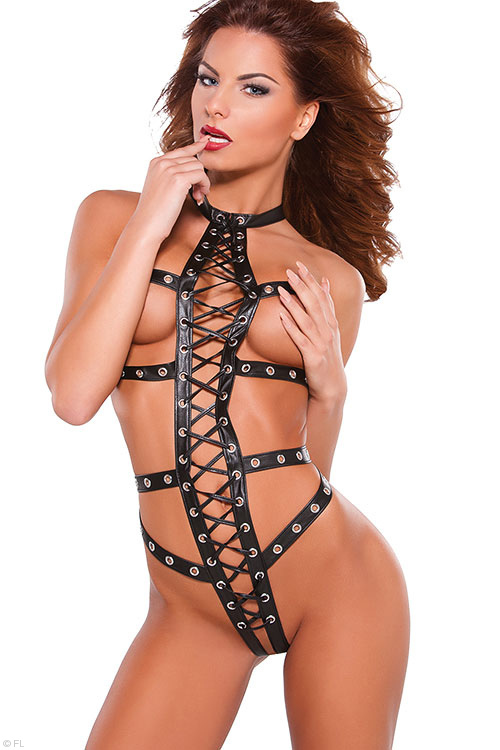 Lingerie - Allure Faux Leather Lace-Up Teddy with Pasties