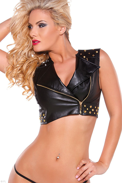 Lingerie - Allure Faux Leather Vest with G-String