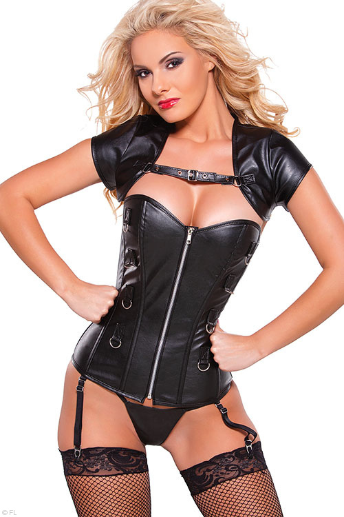 Lingerie - Allure Faux Leather Corset with Bolero & G-String