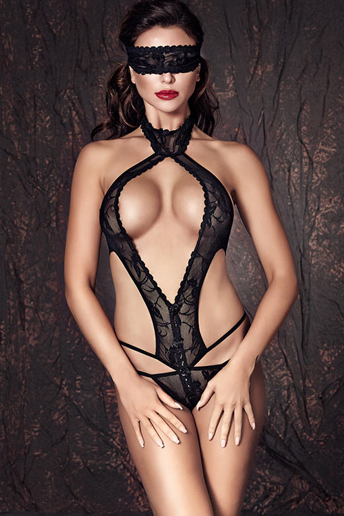 Lingerie - Anais Lace Teddy with Eye Mask