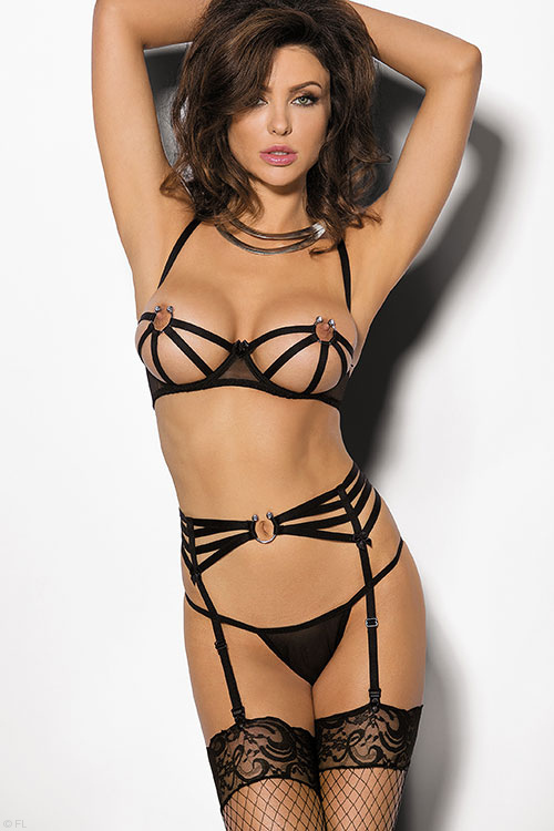 Lingerie - Angels Never Sin Caged Bra with Garter Belt & Thong