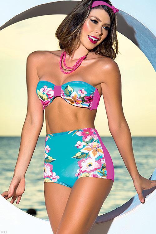 Lingerie - Mapale Swim & Beachwear Retro Inspired Bikini with Halter Strap
