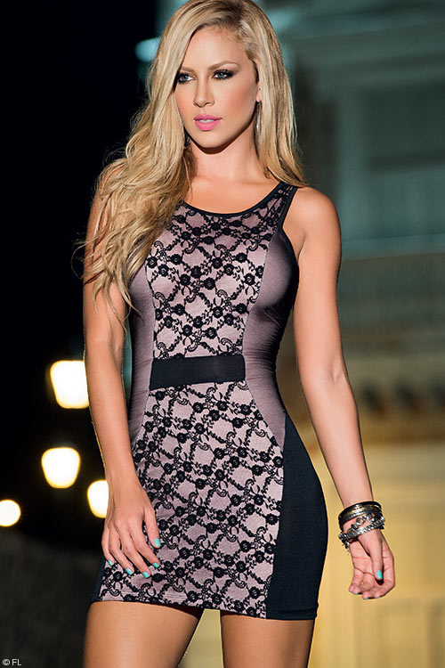 Lingerie - Mapale Swim & Beachwear Black Lace Overlay Mini Dress