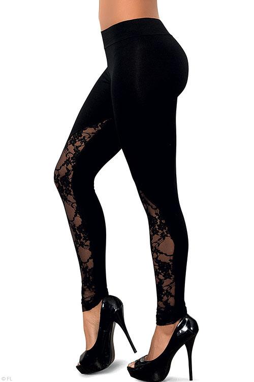 Lingerie - Mapale Swim & Beachwear Black Leggings with Lace