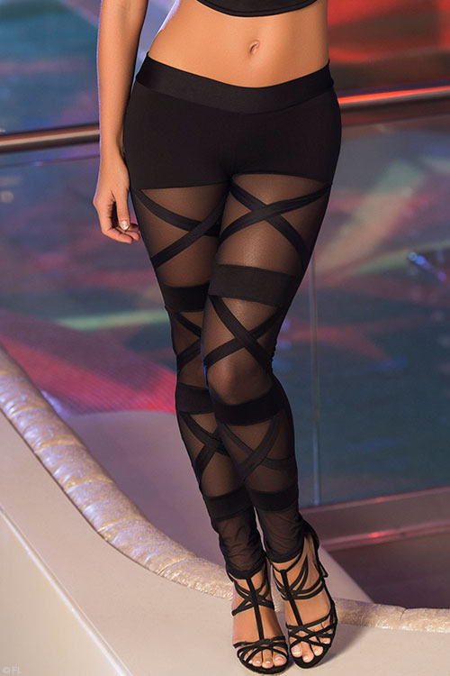 Lingerie - Mapale Swim & Beachwear Strappy Criss-Cross Pattern Leggings