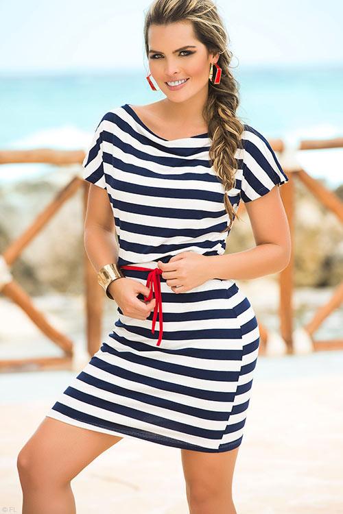 Lingerie - Mapale Swim & Beachwear Classic Nautical Look Dress