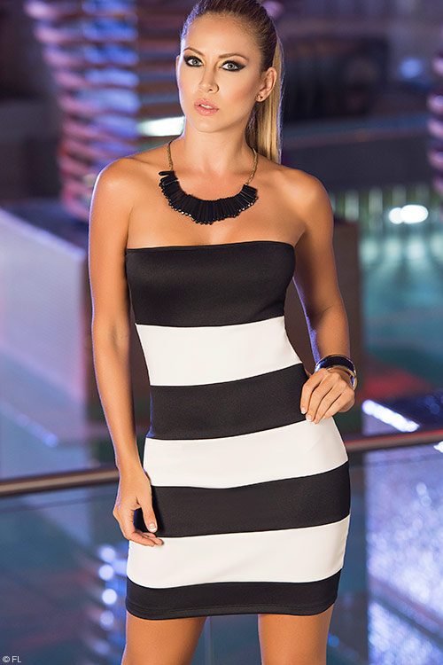 Lingerie - Mapale Swim & Beachwear Striped Tube Dress
