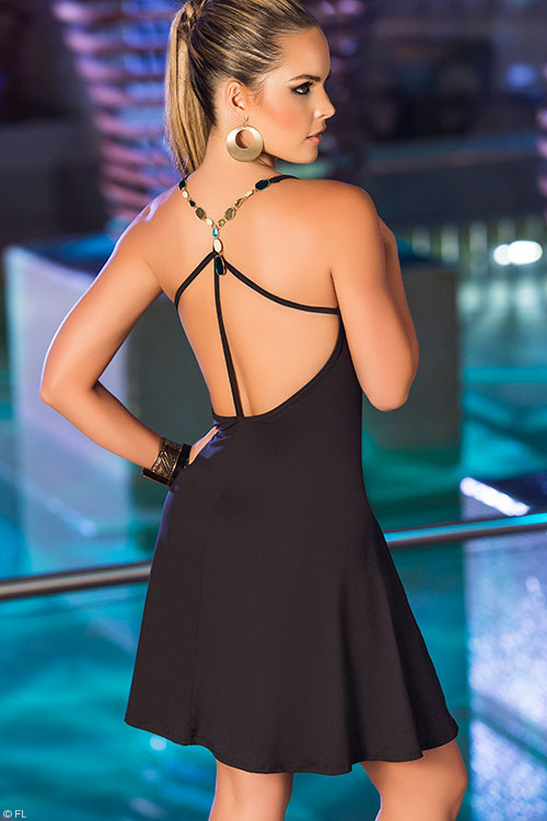 Lingerie - Mapale Swim & Beachwear A-Line Dress with Jewelled Accents