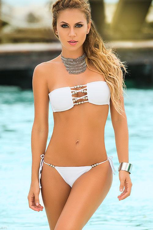 Lingerie - Mapale Swim & Beachwear 2 Pce Beads & Strings Bikini with Thong Bottom