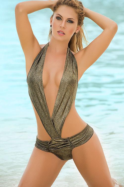 Lingerie - Mapale Swim & Beachwear Shimmering Gold Swimsuit
