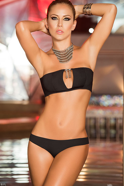 Mapale Swim & Beachwear 2 Pce Little Black Suit with Brief Bottom