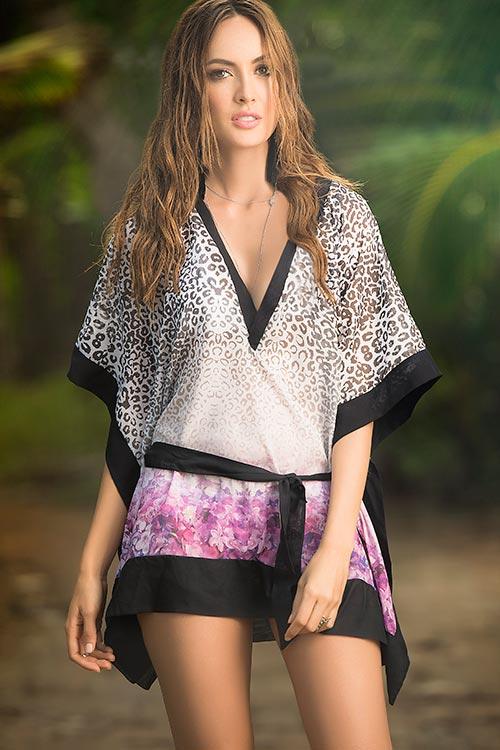 Lingerie - Mapale Swim & Beachwear Sassy Leopard Print & Purple Kimono