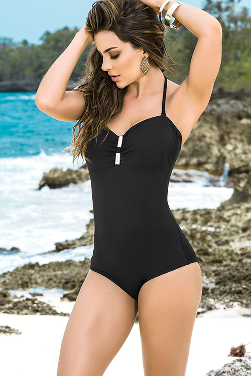 Lingerie - Mapale Swim & Beachwear One Piece Swimsuit with Removable Halter Strap