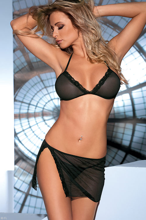Avanua Milady Fishnet Bra with Skirtini & Thong