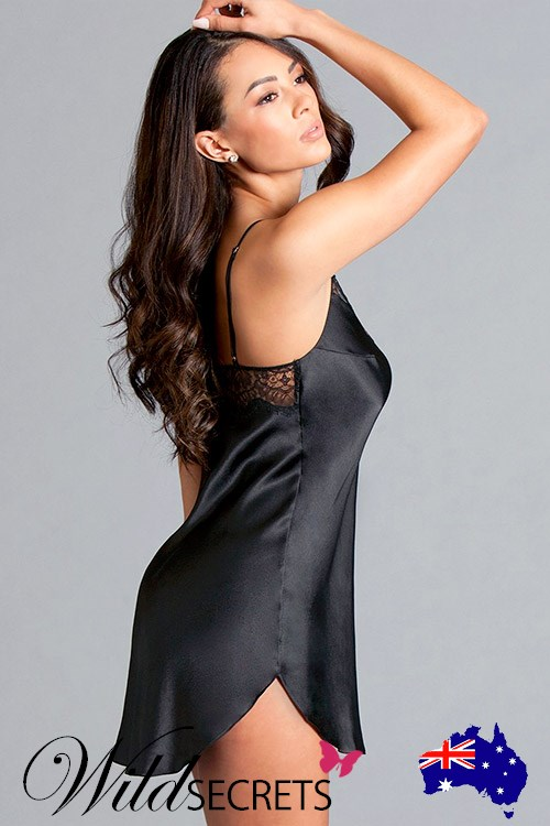 ea2698ee124 NEW Be Wicked Veronica Classic Black Satin Chemise