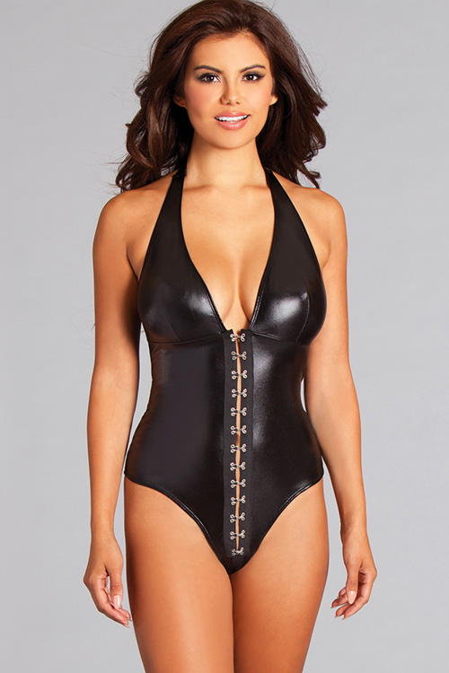 Giselle Crotchless Black Wet-Look Teddy