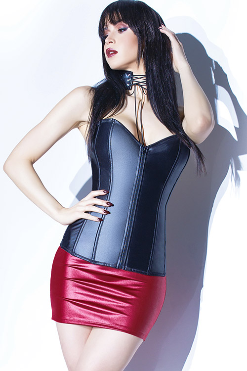 Raven Matte Wet-Look Boned Corset