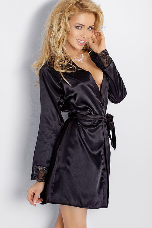 Lingerie - DKaren Satin Robe with Lace Trim