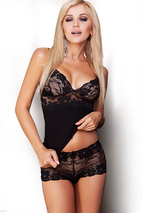 Lingerie - DKaren Lace with Lightweight Jersey-Knit Cami & Boyshort