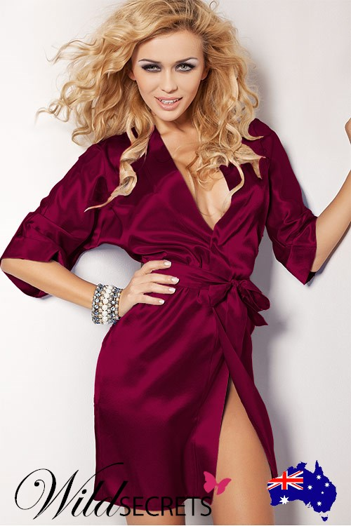 NEW DKaren Tina Luxurious Claret Satin Robe 4bc8f4527