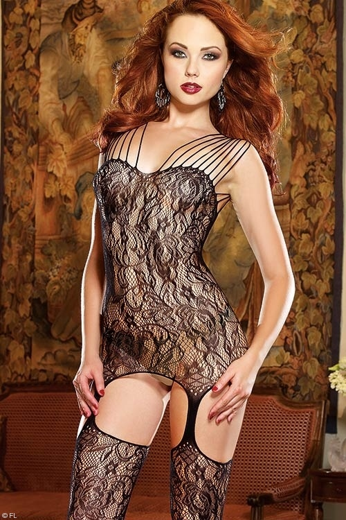 Lingerie - Dreamgirl Montreal Bodystocking with attached Stockings