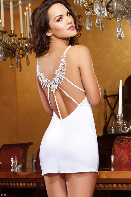 Lingerie - Dreamgirl Intimate Affair Bridal Chemise with Thong