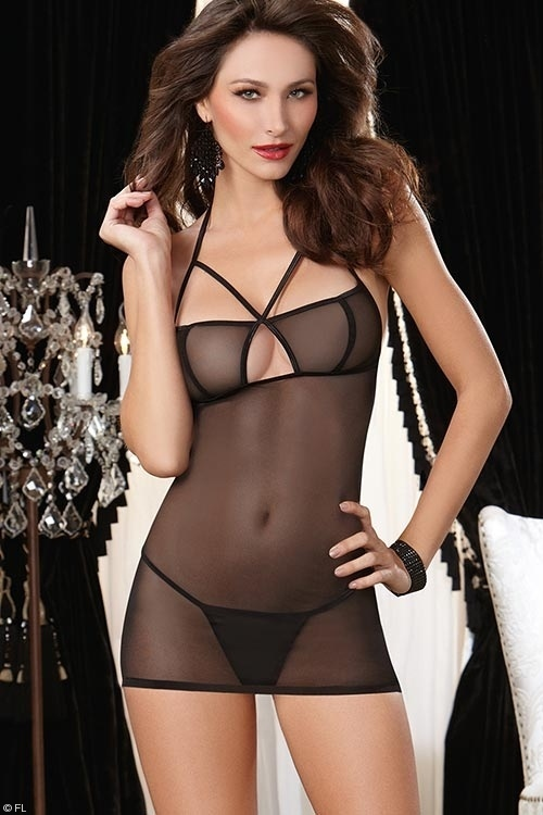 Lingerie - Dreamgirl Sheer Chemise with G-String