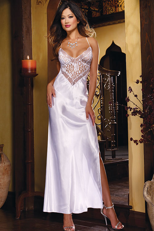 Lingerie - Dreamgirl Satin & Lace Gown with G-String