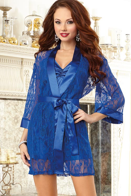 Lingerie - Dreamgirl Lacy Kimono Robe with Chemise
