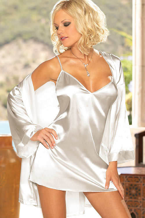 Lingerie - Dreamgirl Satin Chemise with Robe