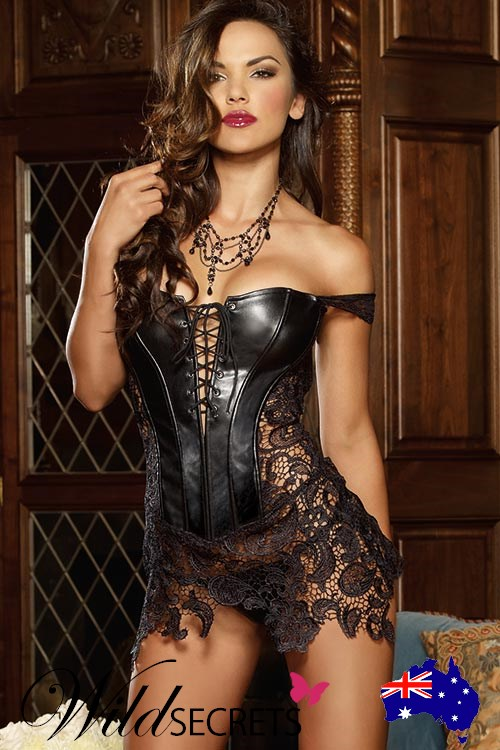 75ff6cd08 NEW Dreamgirl Beyoncé Faux leather and Venice Lace Corset with Thong ...