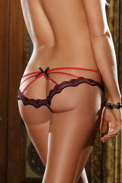 Lingerie - Dreamgirl Open Crotch Strappy Boyshort