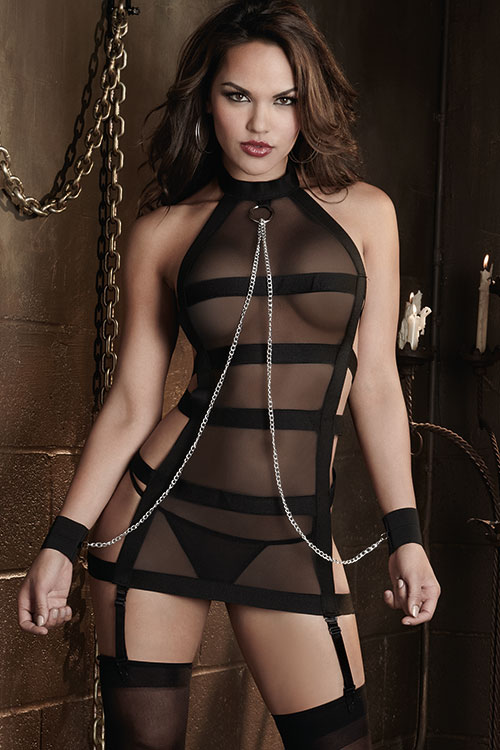 Lingerie - Dreamgirl Chemise with G-String & Restraints