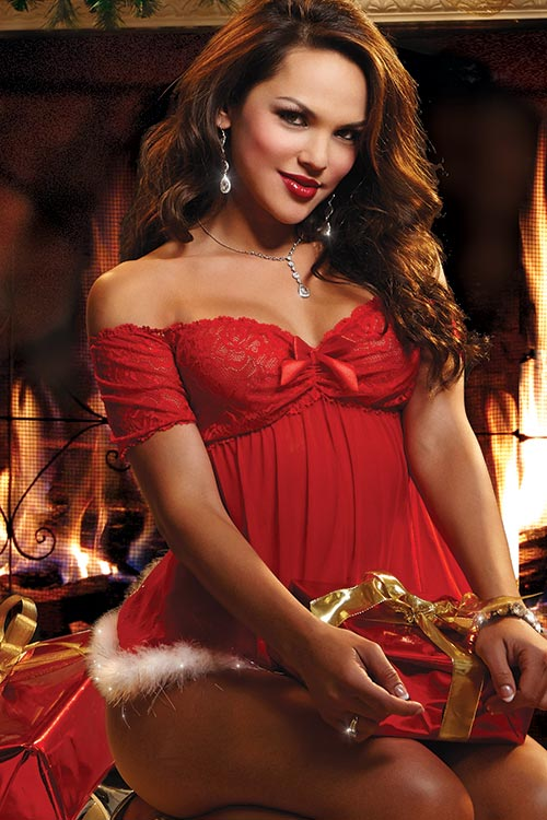 Lingerie - Dreamgirl Christmas Santa Babydoll with Boyshort