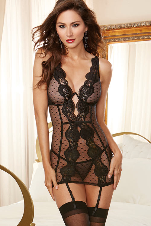 Dreamgirl Point D'esprit Chemise with G-String