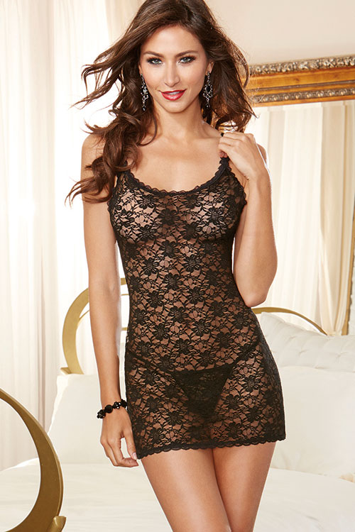 Lingerie - Dreamgirl Lace Chemise with G-String