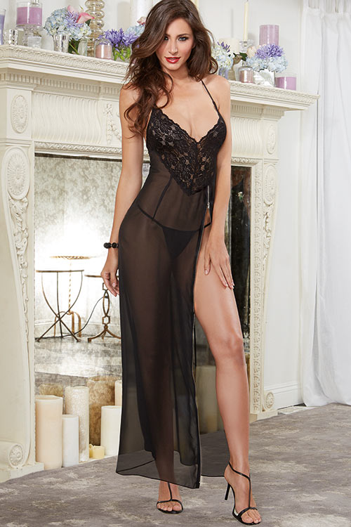 Lingerie - Dreamgirl Sheer Gown with Thong