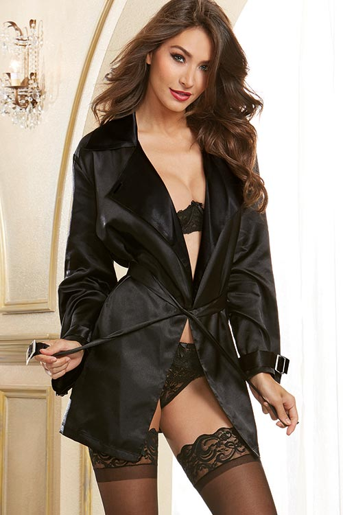 Lingerie - Dreamgirl Charmeuse Robe with Trench Coat Styling