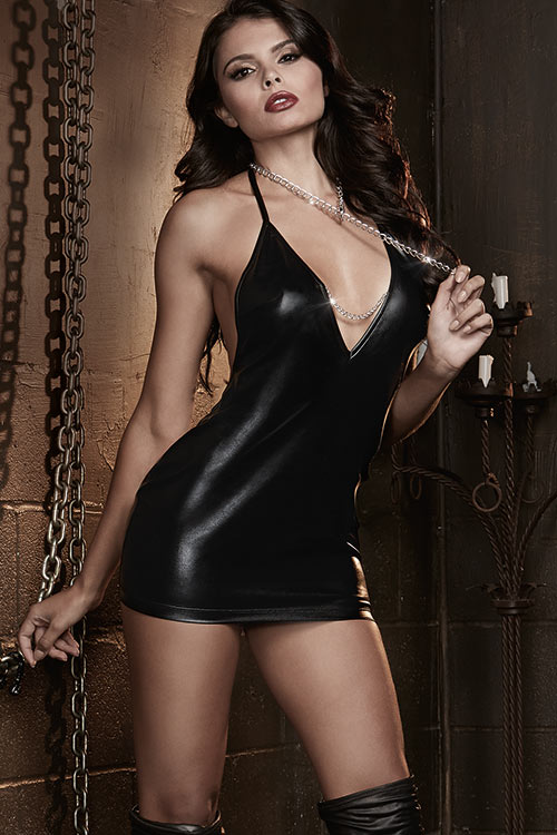 Lingerie - Dreamgirl Wet-Look Chemise with Chain Detail
