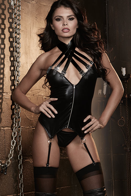 Lingerie - Dreamgirl Faux Leather Bustier with G-String