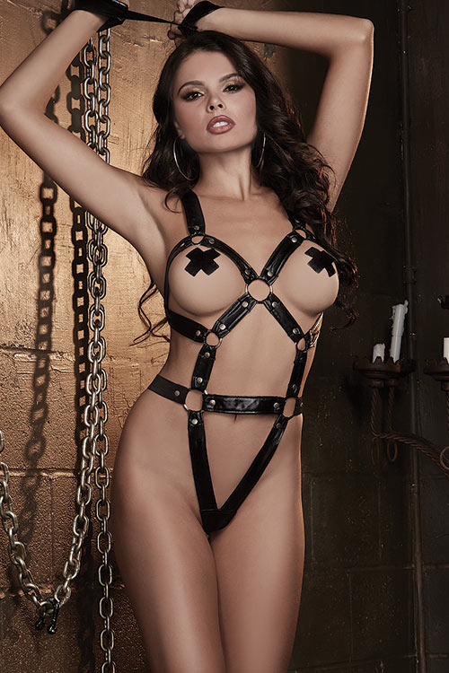 Lingerie - Dreamgirl Faux Leather Teddy with Restraints