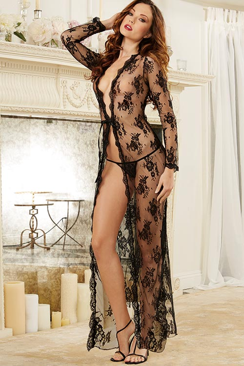 Lingerie - Dreamgirl Lace Robe with Thong