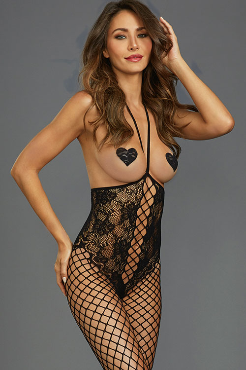 New Wave Open-Bust Fishnet Bodystocking