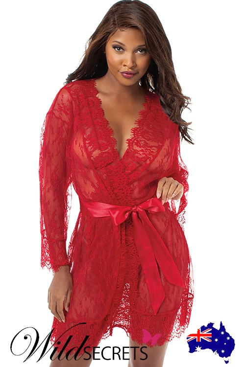 NEW Dreamgirl Ruby Romance Lace Robe 9cbf34ec2f