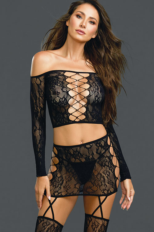 New Wave Bodystocking Top with Gartered Skirt & Thigh Highs