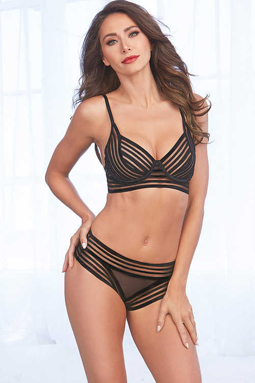 Sexy Undies for Mums | Dreamgirl Timeless Striped Mesh Bra with Thong | Beanstalk Single Mums
