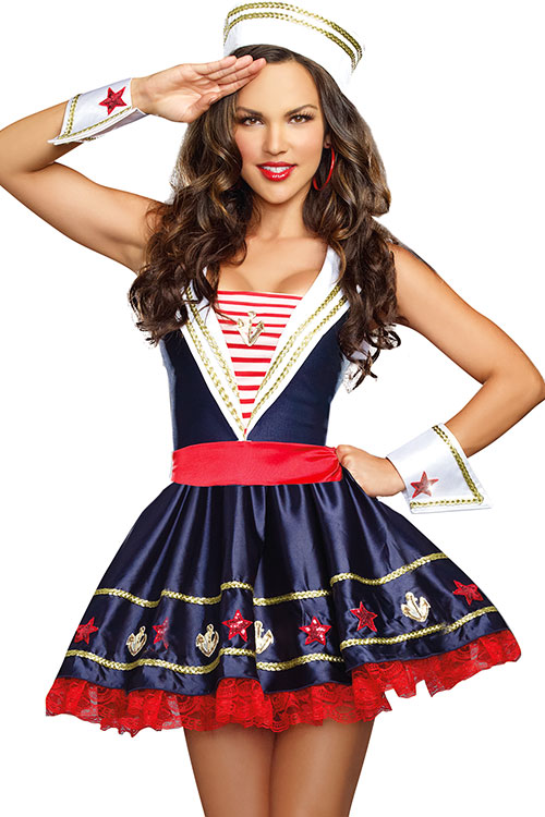 Costumes - Dreamgirl 4 Pce Adorable Navy Costume