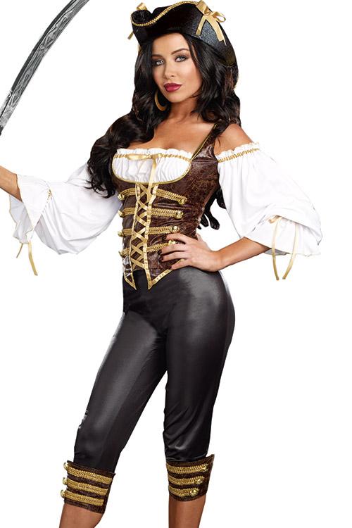 Costumes - Dreamgirl 3 Pce Sea Worth Pirate Costume